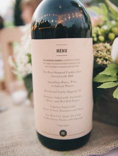 Use the wine your serving with dinner to double as menus.menus printed on kraft paper and attached to wine bottles at each table Wedding Menu, Wedding Events, Wedding Reception, Our Wedding, Wedding Planning, Wedding Foods, Snow Wedding, Wedding Vintage, Wedding Catering