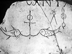 Anchor and fish, tomb slab from Catacomb of Domitilla, 3rd century A.D.  Because it secures a vessel, the anchor was regarded in ancient times as a symbol of safety. In this instance the anchor symbolizes Christ who is the sure hope of Christians, represented here by fish.