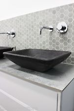 Stone GREY Charcoal Black MARBLE RECTANGLE Bowl Counter Top Basin Vanity MATTE