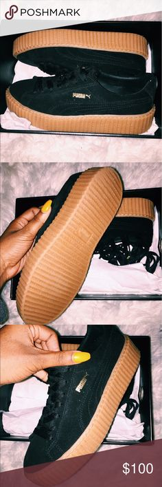 Rihanna Fenty x Puma Creepers in black/gum Fenty x Puma Rihanna creepers in black/gum! The shoes are in very good condition, they are clean and have only been worn maybe 4 or 5 times. They are true to size (womens 9.5) and are very heavy on the feet which is why I am selling them. The box is included but the velvet bag they came with is not. Puma Shoes Sneakers
