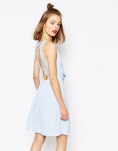 Samsoe+&+Samsoe+Willow+Short+Dress+with+Lace+Inserts