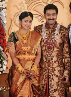 Sneha and Prasanna Jewellery South Indian Weddings, South Indian Bride, Indian Bridal Wear, Indian Wear, Engagement Saree, Indian Jewellery Design, Jewellery Designs, Wedding Sari, Wedding Venues