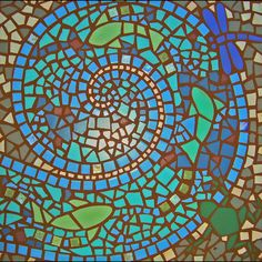 Custom exterior mosaic patio insert, comes assembled and ready to install, 2' square or circle, sample design. $500.00, via Etsy.