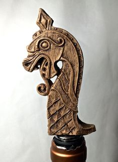 Viking Ship Dragon Winestopper, by Dellamorte & Co… Viking Dragon, Viking Ship, Viking Art, Wood Carving Patterns, Wood Carving Art, Wood Art, Viking Designs, Celtic Designs, Escudo Viking