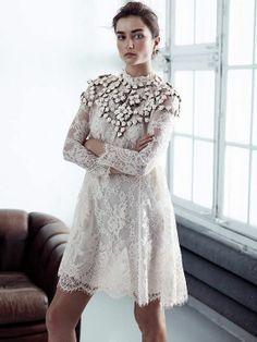 H&M white lace dress Conscious Collection Spring 2014 Fast Fashion, High Fashion, Ethnic Fashion, Paris Fashion, Womens Fashion, Textiles Y Moda, Mode Style, The Dress, Dress Skirt