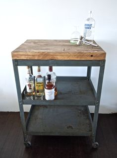 repurposed utility cart with reclaimed wood top // bar cart // kitchen storage from Reclaimbk on Etsy. Diy Bar Cart, Gold Bar Cart, Bar Cart Decor, Bar Carts, Bar Trolley, Armoire, Metal Cart, Home Bar Areas, Bar Refrigerator