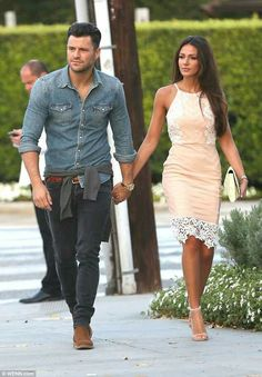 Michelle Keegan shows off her slender physique in stylish peach dress as she dines with husband Mark Wright in LA