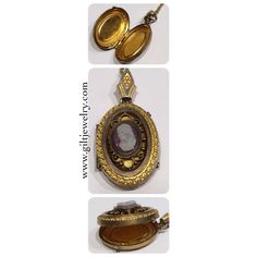 A c1890 carved hardstone cameo and goldfilled locket ready for pictures of your family or sweetheart. $165. Call to purchase. #giltjewelry #victorian #locket #heirloom #cameo #antiquejewelry #memories #sweet
