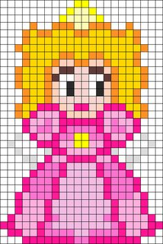 Princess Peach Perler Bead Pattern / Bead Sprite could use for knitting! Melty Bead Patterns, Kandi Patterns, Pearler Bead Patterns, Perler Patterns, Peyote Patterns, Pearler Beads, Beading Patterns, Cross Stitch Patterns, Perler Bead Designs