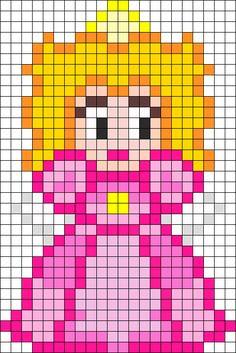 Princess Peach Perler Bead Pattern / Bead Sprite