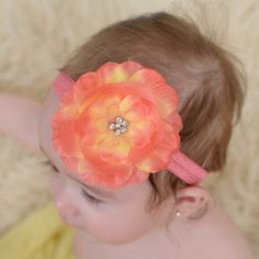 Lizzie- Tropical Flower Headband, Baby headbands, girls headbands, flower headbands,