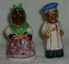 Vintage Black Americana Chef Mammy Salt and Pepper Shakers COLORFUL
