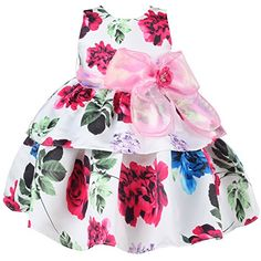 Mingao Little Girls Flower Dresses Rose Belt Chirsmas Dance Party 4 Years * To view further for this item, visit the image link.