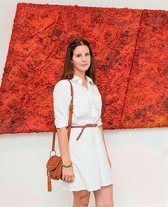 "Lana Del Rey standing in front of Bosco Sodi's ""Melpaís"" at his art exhibit in Los Angeles OR AS I LIKE TO CALL IT: ""A work of art in front of a painting"" ♡ #LDR"