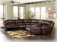 """ASHLEY """"BRAXTON JAVA"""" HUGE GENUINE LEATHER Reclining Sectional w/Reclining Chaise!"""