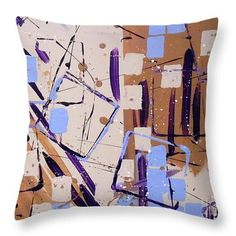 Blue & Taupe #Geometric Throw Pillow, 5 sizes, by Jilian Cramb #homedecor #textiledesign #modernhome #cubism