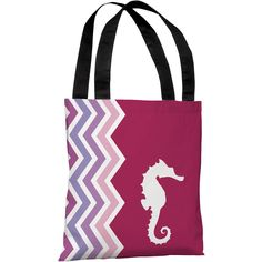 """Chevron Seahorse"" 18""x18"" Tote Bag by OneBellaCasa"