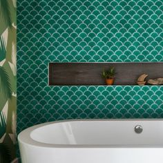 Emerald Ca Pietra Scallop Tiles - swimming their way into bathroom and kitchen interiors, these scallop porcelain mosaic tiles will add drama