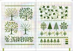 lovely tree and leaf patterns - maybe someday i will design my own sampler