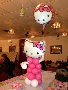 Hello Kitty with printed foil head. Designed by Balloons by Night Moods in Juneau, Alaska 523-1099 www.juneausbestballoons.com