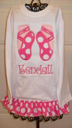 Boutique Girls Ballerina Applique Shirt by doodlebugdesigns34, $22.00
