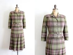 vintage 1950s skirt suit // 50s green tartan by TrunkofDresses, $115.00
