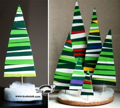 Use colored paper and glue to make this crazy fir tree!