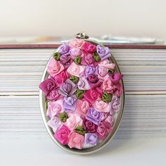 Pink Floral Necklace silk ribbon embroidery by bstudio on Etsy