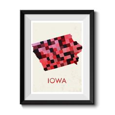 Iowa Map Print. Map Poster. State Poster. Huge sizes available. Printed Canvas Also Available. by MappedMoments on Etsy