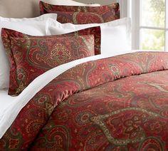 Pottery Barn Mira Paisley King Duvet Cover Red Green Tan Burgundy Sateen Cotton #PotteryBarn