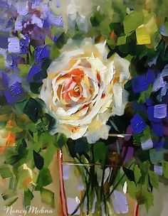 Artists Of Texas Contemporary Paintings and Art - Carpe Diem Coral Rose and Living the Dream by Texas Flower Artist Nancy Medina