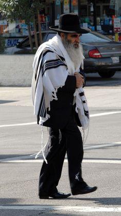 Jewish man wearing beautiful prayer shaw