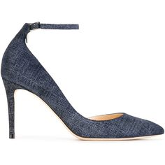 Jimmy Choo ankle strap denim pumps (€655) ❤ liked on Polyvore featuring shoes, pumps, blue, blue pumps, blue stilettos, jimmy choo shoes, ankle strap pumps and ankle strap stilettos