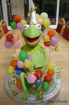 One of Kermit's custom-made birthday cakes for the huge party he hosts every year.....