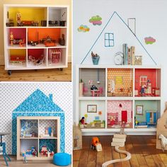Use a bookcase as a Doll house. cheap wallpaper on the back for different rooms. Something like Ikea Expendit units would suit really well.