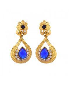 Exquisite Kundan Polki Copper Chandelier Earring_Blue18