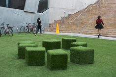 Fake Grass Cubes by wezm - need!: Fake Grass Cubes by wezm - need! Fake Turf, Fake Grass, Modern Backyard, Backyard Landscaping, Back Gardens, Outdoor Gardens, Sensory Garden, Artificial Turf, Artificial Grass Ideas