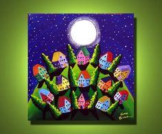 Green Peace on Earth Houses Folk Art Canvas Painting renie via Etsy