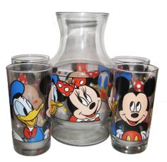Disney Lot of 4 Glasses Plus Juice Pitcher Mickey Minnie Mouse Donald Duck