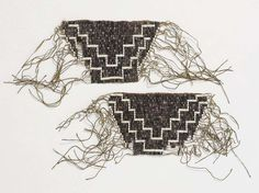 Canada | Pair of fringed wrist cuffs worn by Mohawks archers and warriors | Wampum shell beads  and fiber | 18th century