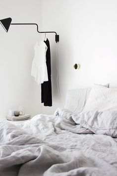 the black and white bedroom