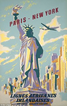Aer Lingus advertised destinations such as Paris and New York in its posters.