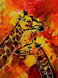 Nfac Original ACEO Nibblefest Art Drawing Africa Two Giraffes by Sue Flask   eBay