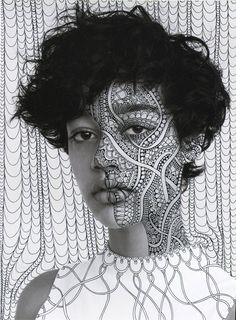 Portraits with Black Psychedelic Patterns by Alana Dee Haynes – Fubiz Media Psychedelic Pattern, Psychedelic Art, Portrait Art, Portrait Photography, Foto Face, Doodle On Photo, Art Visage, Montage Photo, Draw On Photos