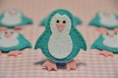 Set of 6pcs handmade felt penguin--tro. turquoise (FT805). $5.39, via Etsy.