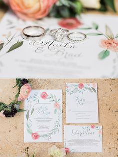 Floral wedding invitation and ring