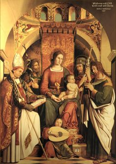 Saint Gall our Saint is portrayed with the Madonna and Child,above left, front; next to him is St. John the Baptist; on the right are St.James the Greater and St. Bartholomew.