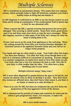 "This is brilliant - please share  Donnee shares ""I have had several people ask me over the years, of course, what MS is and I've always done my best to try to explain it as simply as I could (for such a complex disease) so they could understand it as best as possible. It occured to me that I should make another poster to try to help everyone in the same situation. I hope this helps! ""  MS Talk"