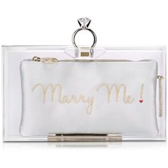 Charlotte Olympia Handbags Marry Me Pandora Clear Perspex Clutch Box ($1,130) ❤ liked on Polyvore featuring bags, handbags, clutches, white handbags, white purse, clear hand bags, leopard purse and lucite purse