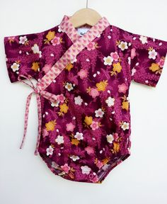 Baby Kimono Bodysuit - BURGUNDY SAKURA - Baby girl outfit - unique baby clothes japanese inspired on Etsy, $35.00